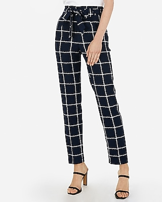 Express Womens High Waisted Windowpane Print Paperbag Ankle Pant Blue Women's 14 Short Blue 14 Short