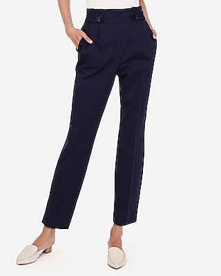 Express Womens High Waisted Pull-On Tab Button Ankle Pant Blue Women's Xxs Blue Xxs