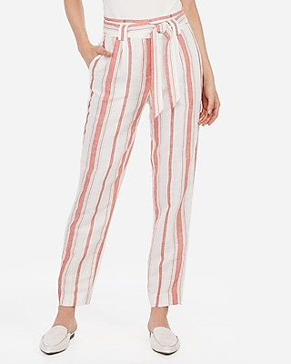 Express Womens High Waisted Striped Linen-Blend Paperbag Ankle Pant