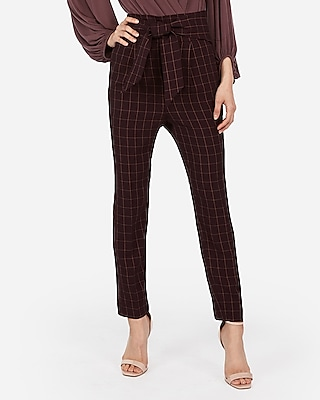Express Womens Express Womens Super High Waisted Windowpane Print Tie Front Ankle Pant