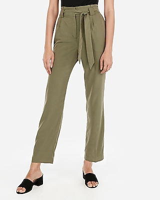 Express Womens High Waisted Paperbag Ankle Pants