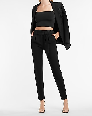High Waisted Paperbag Ankle Pant