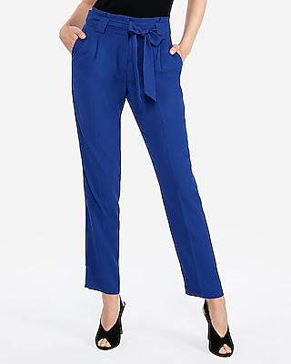 Express Womens High Waisted Paperbag Ankle Pant Blue Women's 00 Short Blue 00 Short