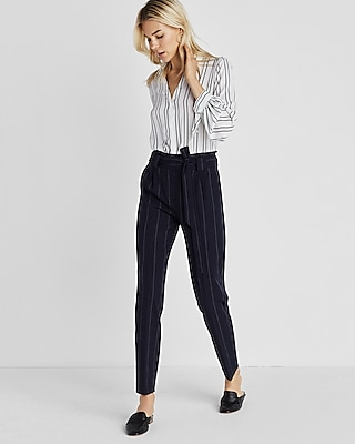 Express Womens Pinstripe Belted Sash Waisted Pant