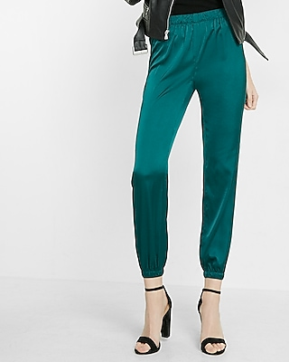 Express Womens Mid-Rise Satin Ankle Jogger Pant