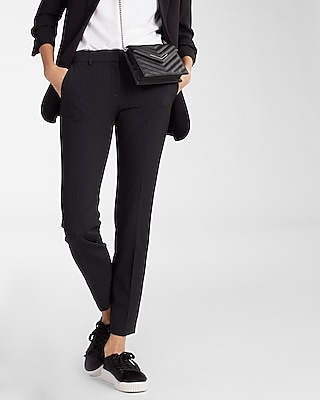 Express Womens Petite Mid Rise Pinstripe Columnist Ankle Pant