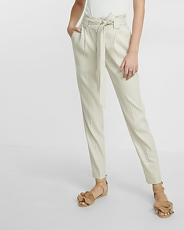 high waisted linen blend belted ankle pant