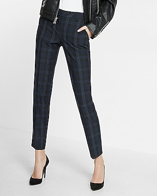 Express Womens Mid Rise Plaid Columnist Ankle Pant