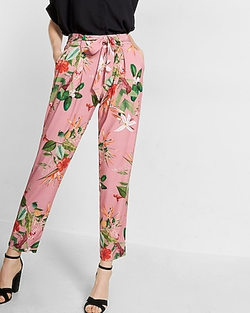 mid rise floral print jersey sash pant