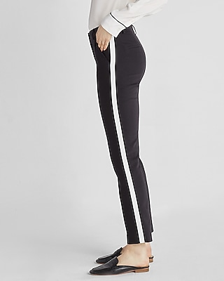 Express Womens Express Womens Mid Rise Side Stripe Columnist Ankle Pant Black 00 Short