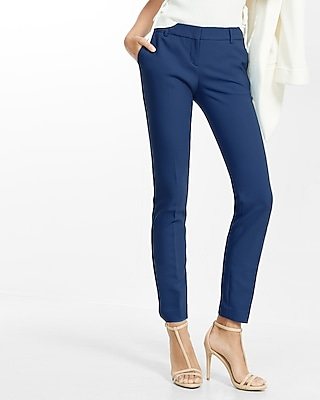 Express Womens Petite Mid Rise Columnist Ankle Pant