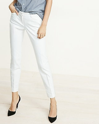 Express Womens Low Rise New Waistband Editor Ankle Pant White 00 Short