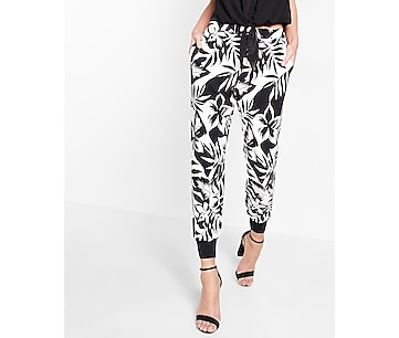 floral print soft twill jogger pant