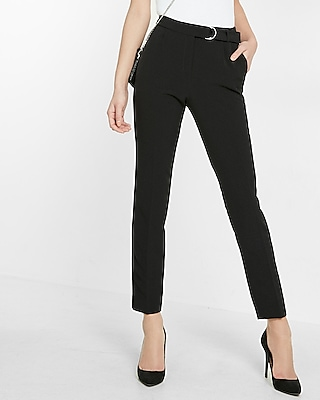 Express Womens Belted Cropped Slim Ankle Pant