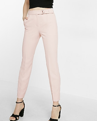 Express Womens Belted Cropped Slim Ankle Pant Pink 00