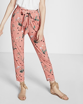 Express Womens Floral Print Jersey Sash Pant