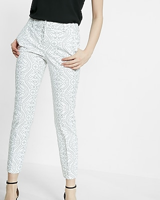 Mid Rise Eyelet Print Columnist Ankle Pant