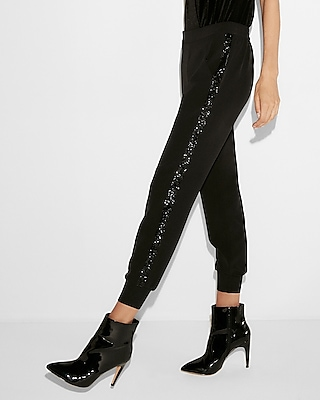 Express Womens Mid-Rise Sequin Jogger Pant