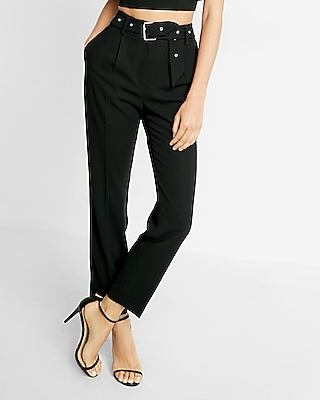 Express Womens Belted Ankle Dress Pant