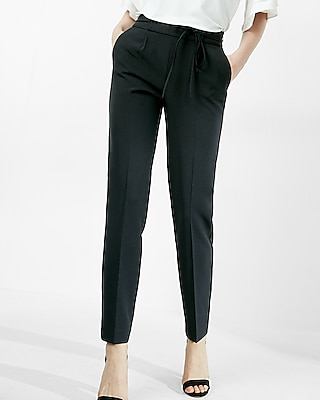 Express Womens High Waisted Tie Waist Ankle Pant