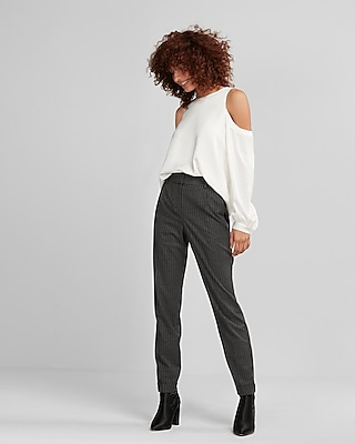 High Waisted Pinstriped Flannel Carrot Ankle Pant