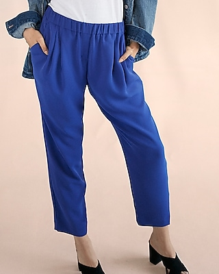 Express Womens Mid Rise Pleated Soft Twill Pant