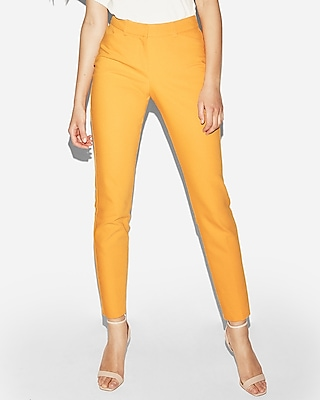 Express Womens Mid Rise Publicist Ankle Pant Orange 00 Short