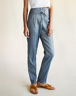 Express Womens Super High Waisted Corset Linen-Blend Ankle Pant