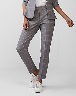 Express Womens Petite Mid Rise Windowpane Columnist Ankle Pant