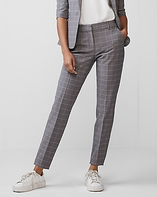 Express Womens Mid Rise Windowpane Columnist Ankle Pant