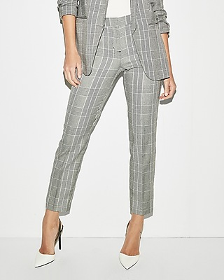 Express Womens Mid Rise Windowpane Columnist Ankle