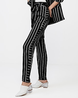 High Waisted Stripe Tie Front Ankle Pant