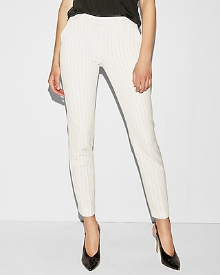 Mid Rise White Pinstripe Columnist Ankle Pant