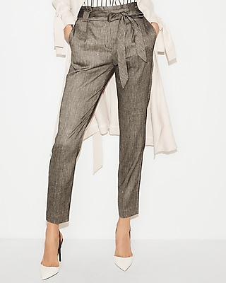 High Waisted Linen-Blend Sash Waist Ankle Pant