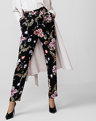 Express Womens High Waisted Floral Tie Waist Pant