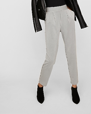 Striped Pleated Pull-On Ankle Pant