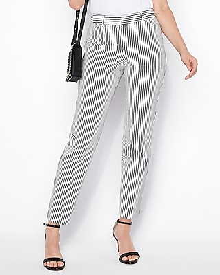 Express Womens Mid Rise Bold Stripe Ankle Curve Pant Black And White Women's 00 Long Black And White 00 Long