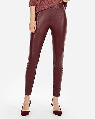 Express Womens High Waisted Dressy Faux Leather Leggings Purple Women's Xxs Purple Xxs