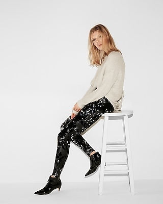 Express Womens Mid Rise Velvet Sequin Leggings