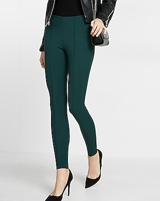 Express Womens Petite Mid Rise Pintuck Legging Green Women's S Petite Green S Petite