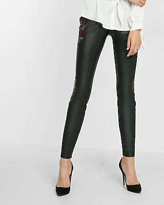 Express Womens (Minus The) Leather Embroidered Leggings