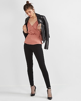 Express Womens Petite Mid Rise Stretch+ Performance Twill Leggings