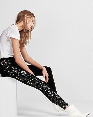 Express Womens Mid Rise Velvet Sequin Panel Leggings