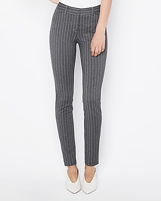 Express Womens Mid Rise Striped Skinny Pant