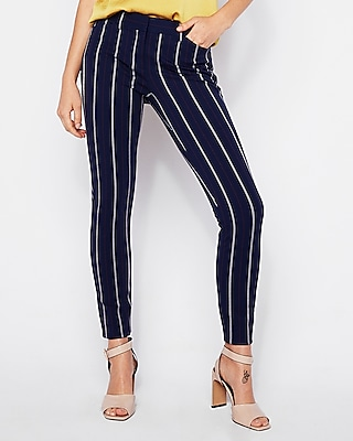 Express Womens Mid Rise Ticking Stripe Skinny Pant