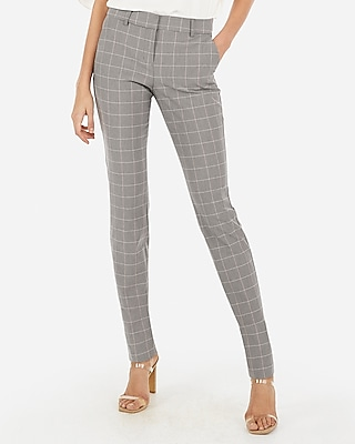 Express Womens Mid Rise Plaid Skinny Columnist Pant