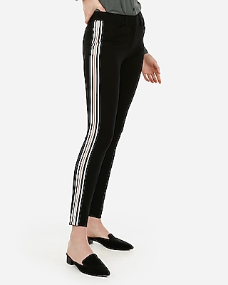 Express Womens Mid Rise Skinny Side Stripe Stretch Pant