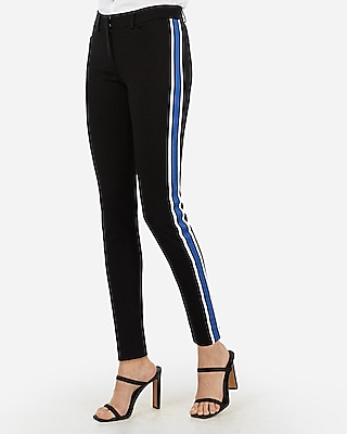 Express Womens Mid Rise Side Stripe Skinny Pant