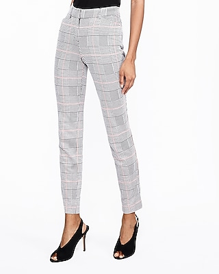 Express Womens Mid Rise Houndstooth Plaid Skinny Pant Black And White Women's 18 Short Black And White 18 Short