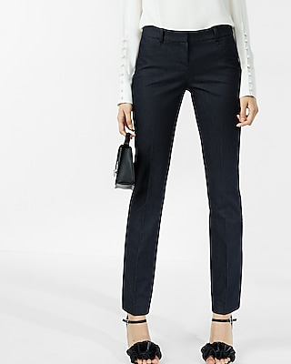 Express Womens Low Rise Denim Straight Leg Columnist Pant